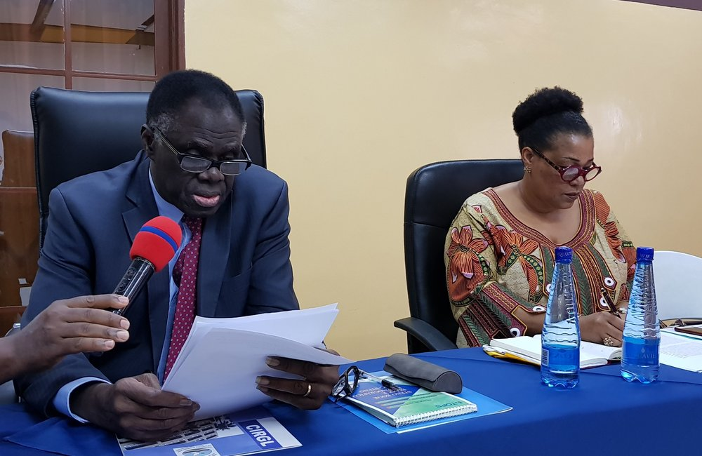 L'envoyé spécial, Michel Kafando (à gauche), et la directrice, Yewande Odia, s'adressant au personnel lors de la retraite OSESG-B, 25 janvier 2019, photo: OSESG-B, N. Viban