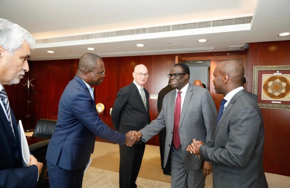 Aides of the AU Commissioner  for Peace and Security, led by Chief of Staff Alex Ratebaye welcome Special Envoy Michel Kafando in Addis Ababa, 13 May 2019. Aides of the AU Commissioner  for Peace and Security, led by Chief of Staff Alex Ratebaye welcome Special Envoy Michel Kafando in Addis Ababa, 13 May 2019. Photo: UN/Elshaddai Mesfin