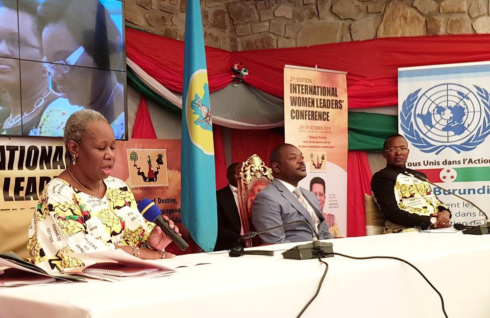 L'ASG Bintou Keita prend la parole lors de la 2e conférence internationale des femmes à Bujumbura, le 24 octobre 2019. Photo ONU/Napoleon Viban