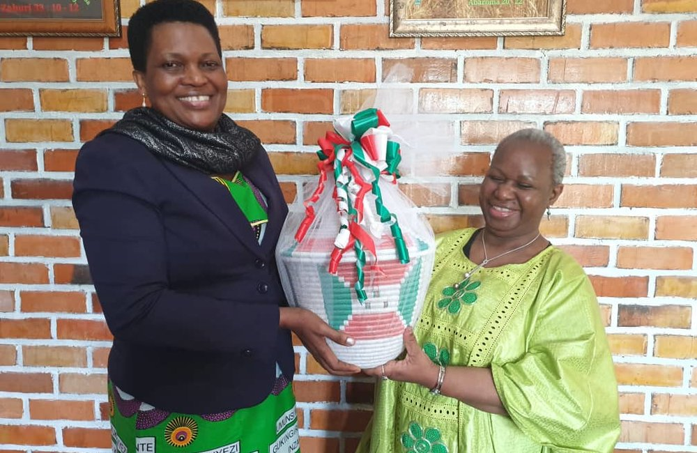 Burundi First Lady Denise Nkurunziza and ASG Bintou Keita at the Good Samaritan orphanage in Buye, Ngozi, 31 Aug 2019. Photo: UN/Kassimi Bamba