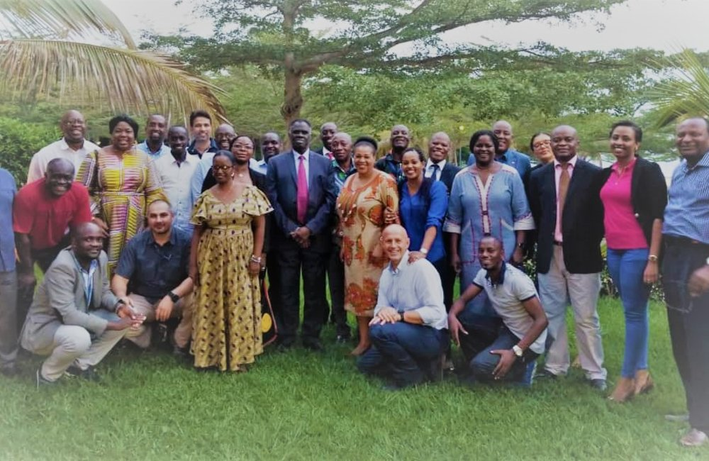 OSESG-B staff and Special Envoy Michel Kafando conclude 25 January 2019 retreat with a group photograph. UN Photo/Napoleon Viban