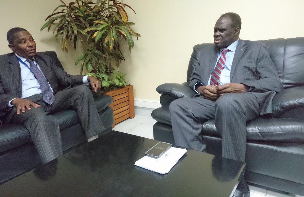 L'envoyé spécial Michel Kafando en réunion avec le secrétaire exécutif de la CIRGL, Zachary Muburi-Mutua, à Bujumbura, le 4 septembre 2018. Photo: OSESG-B, N. Viban