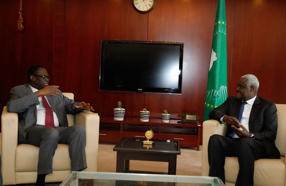 Special Envoy Michel Kafando meets with AU Commission Chairperson Moussa Faki Mahamat in Addis Ababa, 13 May 2019. Photo: UN/Elshaddai Mesfin