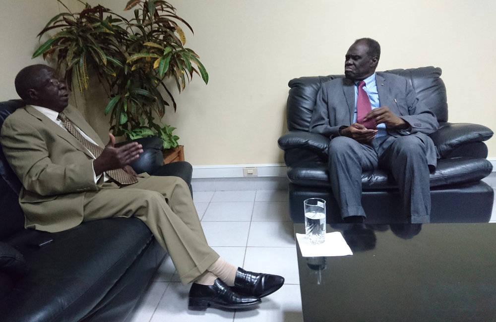 Special Envoy Michel Kafando meets with former President Sylvestre Ntibantunganya in Bujumbura, 5 Sept 2018. UN Photo/Napoleon Viban
