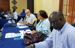 Director Yewande Odia (right-centre) chairing OSESG-B retreat, 23 Jan 2020. UN/Napoleon Viban
