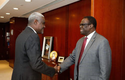 Special Envoy Michel Kafando meets with AU Commission Chairperson Moussa Faki Mahamat in Addis Ababa, 13 May 2019.Photo: UN/Elshaddai Mesfin